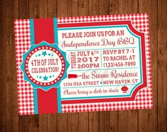 4th of July Picnic BBQ Party Invite, Red, White, and Blue, Stars (Printable)
