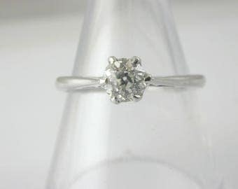 Old English brilliant 18ct white gold diamond solitaire ring size L 1/2 0.50 CTS