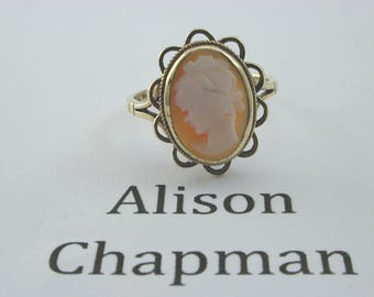 970's 9ct Yellow Gold Cameo Ring size Q