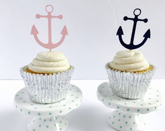 Anchor Cupcake toppers/ Nautical Glitter Cupcake toppers/ nautical baby shower/ nautical weeding/ Lets Get Nauti cupcake/set of 12
