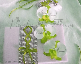 Guest book and penholder green lime/white corset and rhinestones with orchids like to customize color choice