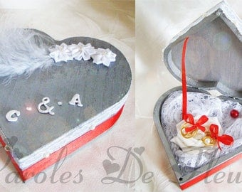 ring bearer box colors grey/red/white heart shaped