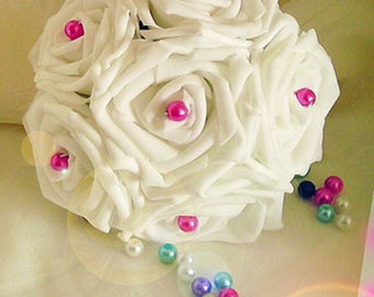 bouquet of roses and pearls, bridesmaid or for the bouquet toss