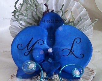 Royal Blue Orchid shell ring bearer artificial customize