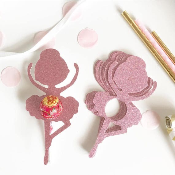 Glitter Ballerina Lollipop Chuppa Chup holders   Party Favor Gifts   Set of 8   Lollipop Tag   Lollipop Gift   Ballerina Favors