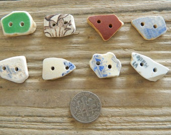8 small drilled sea pottery buttons for crafts