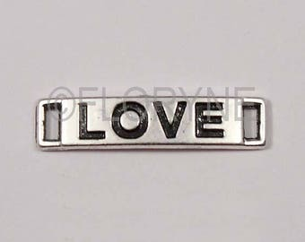 """Sterling spacer silver rectangular """"Love"""" 6 X 28 Mm"""