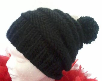 fashion knitted chunky wool and alpaca Hat