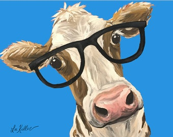 Funny Cow with glasses. cow art print from original cow painting. Cute Cow art, funny cow prints,  cute cow decor