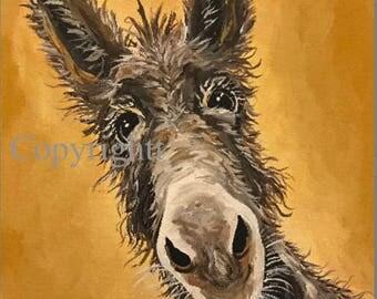 Donkey art print, Donkey decor. Donkey print from original canvas painting, Burro art print, fun donkey art, donkey prints