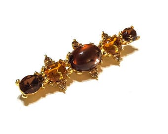 Topaz Bar Pin, Warm Honey Colors, Cognac & Topaz Bar Pin, Shades of Topaz, Renaissance Jewelry, Vintage Jewelry