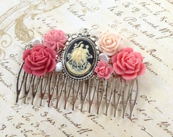 Peachy Pink Cameo Silvertone Hair Comb