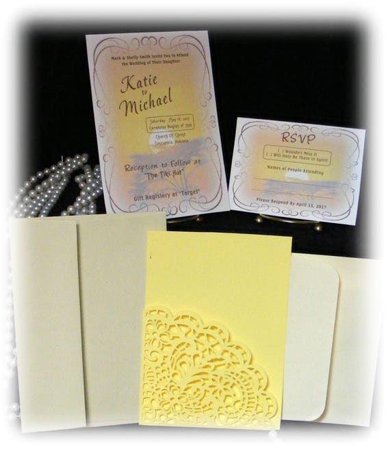 "The Katie ""WEDDING INVITATIONS PLUS"" See Price List Inside"