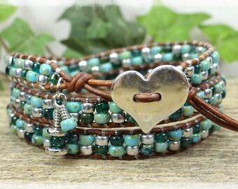 Boho Seed Bead Leather Wrap Bracelet/ Beaded Wrap Bracelet/ Seed Bead Bracelet/ Boho Wrap Bracelet/ Beaded Leather Wrap/ Blue Wrap Bracelet.