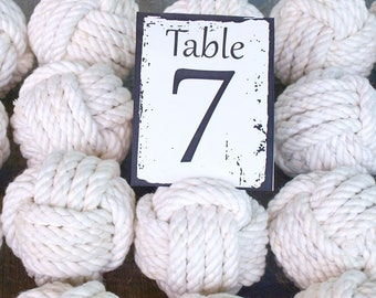 Coastal Wedding Knots cotton Rope 20 Table Number Holders for your Nautical Wedding Monkey Fist Rope Knots (w1)