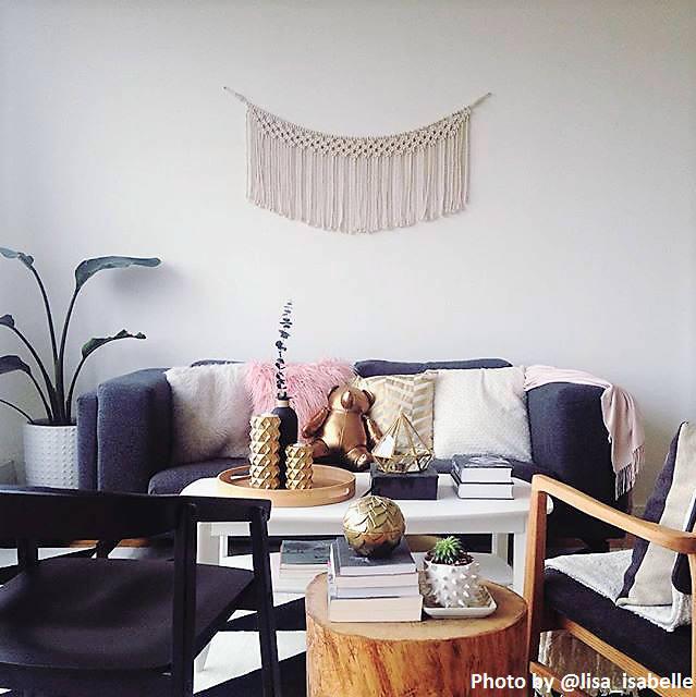macram mural sur corde guirlande t te de lit d cor boho. Black Bedroom Furniture Sets. Home Design Ideas