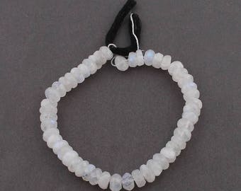 Columbus Day 1 Strand  White Rainbow Moonstone Rondelle - Moonstone Faceted Roundelle Beads 8mm-9mm 7.5 Inch SB360
