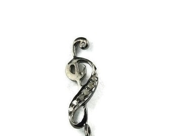 March Sale 2 Piece  Pave diamond 925 Sterling Silver Music Note Charm Pendant 22mmX6mm PDC769