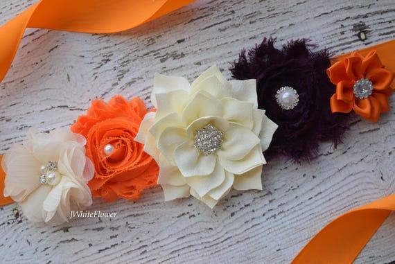 Flower Sash,  orange ivory plum Sash ,#2, flower Belt, maternity sash, wedding sash, maternity sash girl, flower girl sash