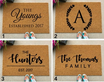 Custom Welcome Mat - Personalize Door Mat - Custom Doormat - Customized Doormat, Housewarming Gift, newlywed gift, closing gift, family gift