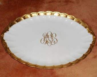 Antique Limoges France Gold Decorated by Wm Lycett Atlanta Huge 20 Inch Turkey Platter