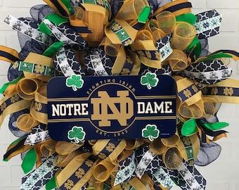 Notre Dame wreath, Notre Dame deco mesh wreath, Notre Dame ribbon, Notre Dame Fan, Notre Dame Gift, Notre Dame alumni
