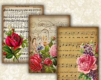 SALE 50% Vintage Music sheet Flower Cards Digital Collage Sheet Printable 2.5x3.5 inch size Images Gift Tags Jewelry Holders Scrapbook ATC A