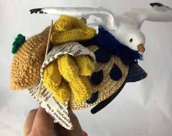Seaside Fascinator ~ Handmade hair accessory, hat, hairband ~ Seagull, fish and chips ~ Nautical ~ Fun, unique headwear!