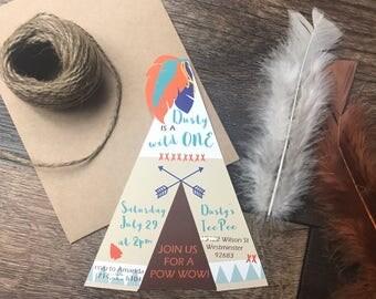 Tee Pee Shaped Tribal Invitation