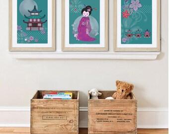3 posters of geisha,  wall art, baby nursery decor, girl room decor