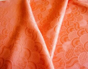 JPI - Vintage Japanese Kimono Silk Fabric **Salmon Waves**