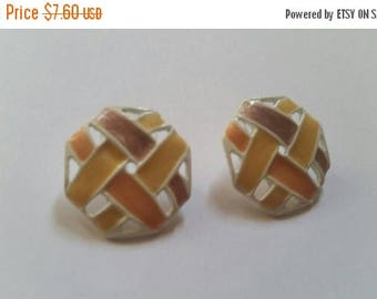 SALE Vintage Enamel Lattice Earrings White Multi-Colored Costume Jewelry