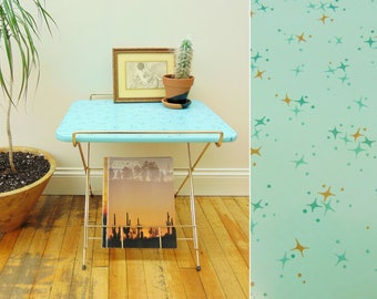 Vintage Mid Century End Table,  Magazine Rack Record Stand, Atomic Starburst Design, Blue Top Gold Wire, TV Tray Telephone Table