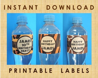 Jungle Adventure / Wildlife Animals / African Safari Theme / Water Bottle Labels / Printable PDF / Birthday / Editable Instant Download