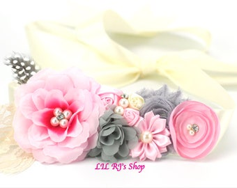 Pregnancy/maternity Vintage Rosette Sash Belt Pink  Sashes flowers Pearl Rhinestones