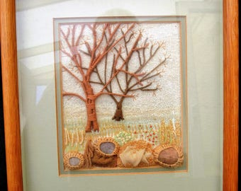 Vintage Stumpwork Embroidery Picture. Acorn Tree
