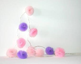 10 Led - Light string with tassels in two tulle pink and purple