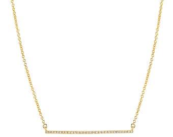diamond bar necklace, 14k solid gold, pave diamond bar