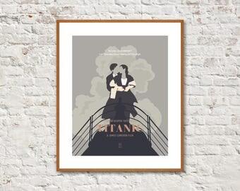 TITANIC MOVIE POSTER - Minimalist Posters, Titanic Poster, Leonardo DiCaprio, Kate Winslet, Billy Zane, Kathy Bates, Alternative Poster