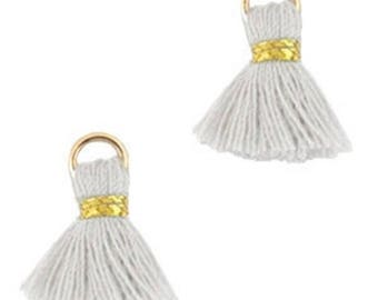 Beaded tassels, tassels, tassel pendant-1.5 cm-3 pcs.-Color selectable (color: grey)