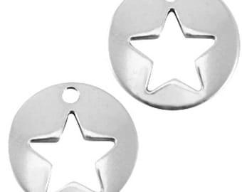 "DQ Metal Pendant ""stern""-1 piece-16 mm-Zamak-color selectable (color: silver)"