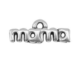 "DQ Metal pendant-""Mama""-2 pcs.-17 x 4 mm-Zamak (colour: Silver)"
