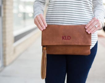 Monogrammed Clutch | Fold Over Clutch | Crossbody | Vegan Leather | Personalized Gifts for Your Best Friends | Bridesmaid Gift | Charlotte