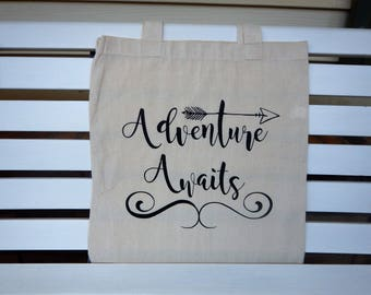 Tote Bag, Adventure Awaits tote, Grocery Tote Bag, Travel Tote Bag, Grocery Tote Bag, Canvas Tote, Gift For Her, Honeymoon Tote