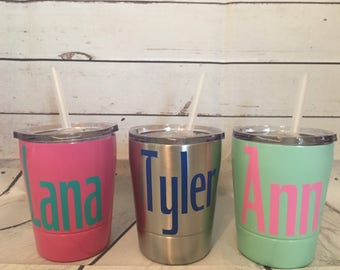9 oz stainless steel kid tumblers with lid and straw!