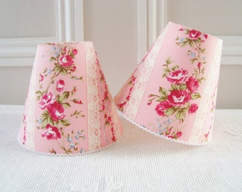 Rose stripe fabric lampshade, clip on lampshade 11 x 13 cm / 4.3 x 5.1 ins for wall Light, Sconce, French country, shabby chic, candy pink