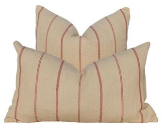 French Style Beige Linen Pillow Cover in Red Stripe. Lumbar Pillow Cover  in Red stripe.