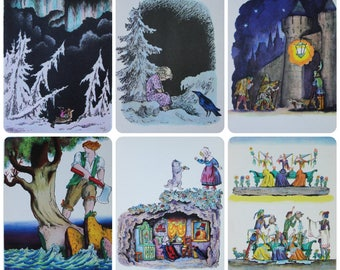 Artist V. Konashevich - Fairy Tales and Songs - Set of 6 Vintage Soviet Postcards, 1965. Snow Queen, English children's folk Song Print