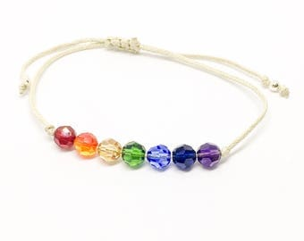 Rainbow bracelet, chakra bracelet, Swarovski and cotton bracelet, rainbow friendship bracelet, sterling silver beads, best seller