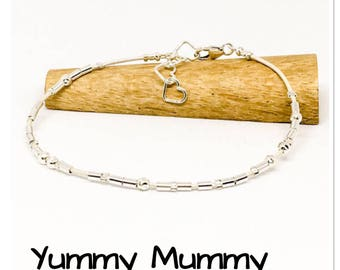 Yummy Mummy - Morse code bracelet - Leather & sterling silver bracelet - hidden message bracelet